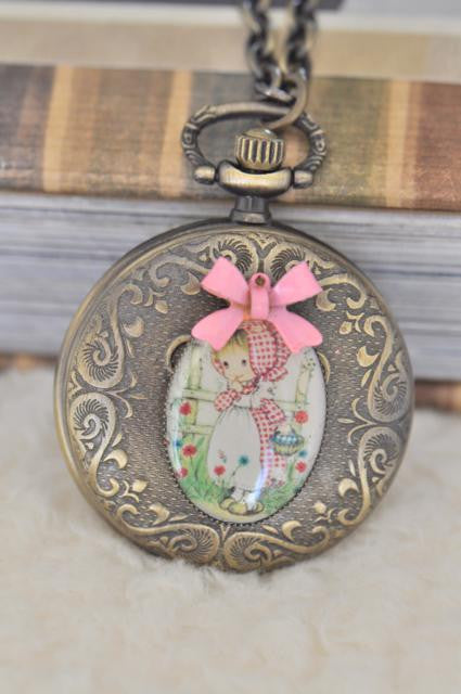 Holly Hobbie Moppet in Pink - Pocket Watch Necklace