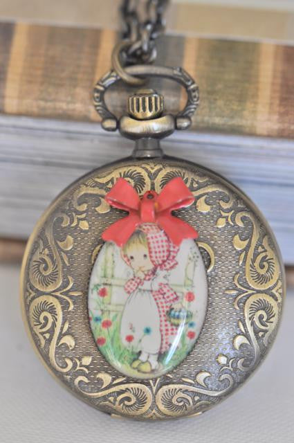 Holly Hobbie Moppet in Red - Pocket Watch Necklace