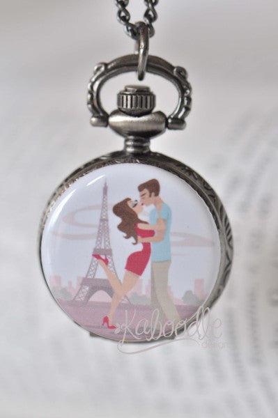 Honeymoon in Paris - Pocket Watch Necklace