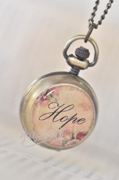 HOPE Inspirational Word - Handmade Pocket Watch Necklace