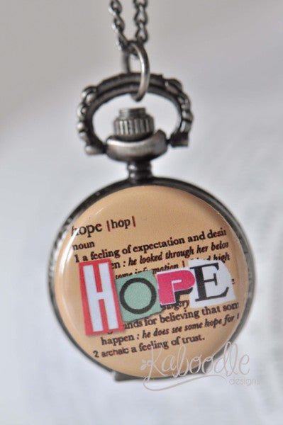 Hope Script - Pocket Watch Necklace