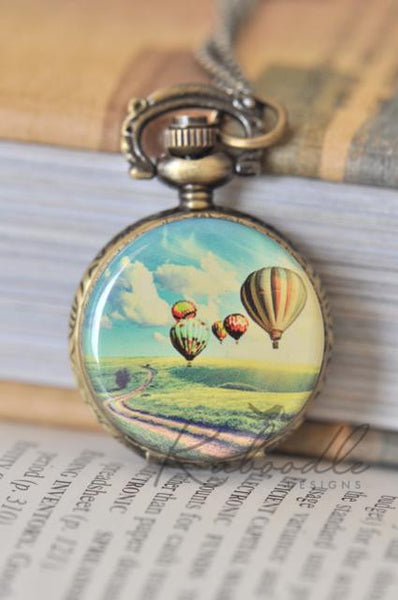 Hot Air Balloons Pocket Watch Necklace