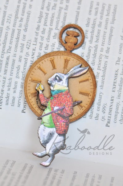 I'm Late - White Rabbit Brooch