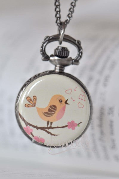 I'm Singing On the Tree - Pocket Watch Necklace