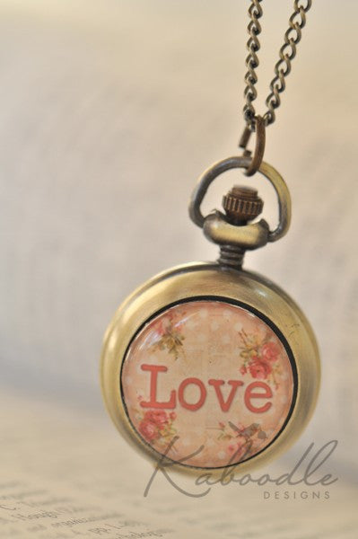 LOVE shabby chic - Handmade Pocket Watch Necklace