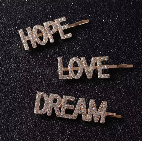 Hope Love Dream Diamonte Embellished Hair Clip Pack