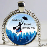 Handmade 25mm Glass Pendant Necklace - Mary Poppins