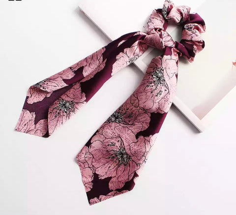 Bohemian Scrunchie Scarf Bow Hair Tie - Pink Black