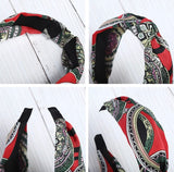 Fabric Knotted Headband - Vintage Red