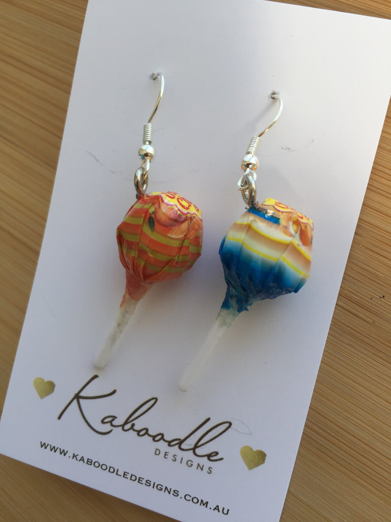 Miniature 3D Candy Lolly Chupa Chups Lollipop Dangle Earrings