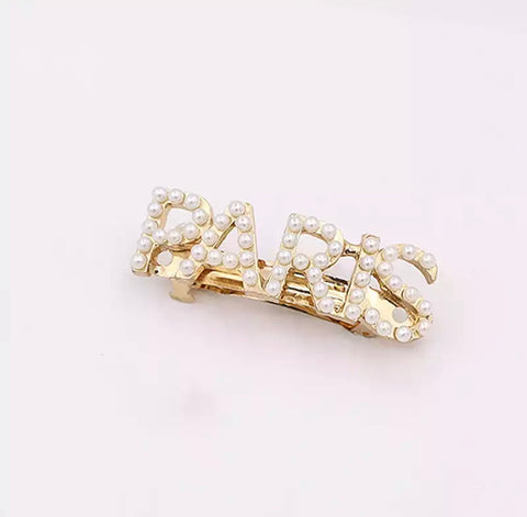 Faux Pearl PARIS Embellished Hair Pin Clip - Gold