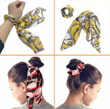Bohemian Scrunchie Scarf Bow Hair Tie - Vintage Yellow