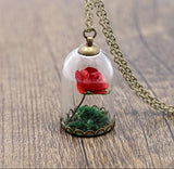 Beauty and The Beast Inspired Red Rose Glass Dome Necklace