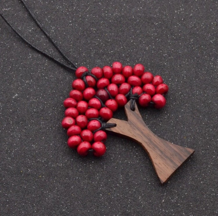 Wooden Tree Bohemian Red Bead Tree Of Life Wooden Necklace