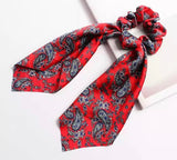 Bohemian Scrunchie Scarf Bow Hair Tie - Paisley Red