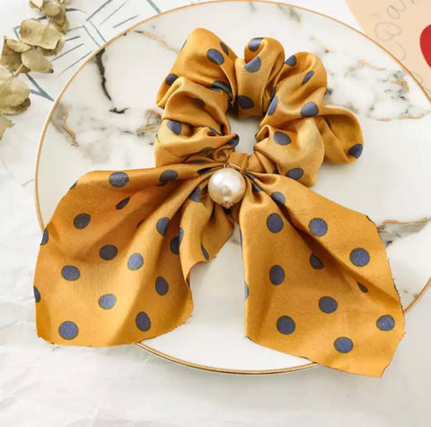 Bohemian Scrunchie Scarf Bow Hair Tie with Faux Pearl - Mustard Yellow Polkadot