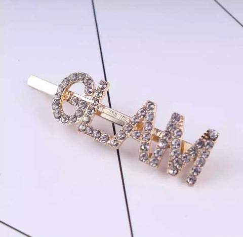 Diamonte GLAM Embellished Hair Pin Clip - Gold