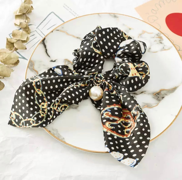 Bohemian Scrunchie Scarf Bow Hai Tie with Faux Pearl