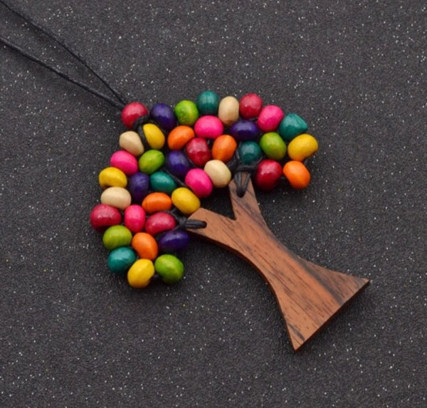Wooden Tree Bohemian Multicoloured Bead Tree Of Life Necklace