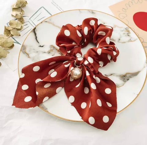 Bohemian Scrunchie Scarf Bow Hair Tie with Faux Pearl - Maroon Polkadot