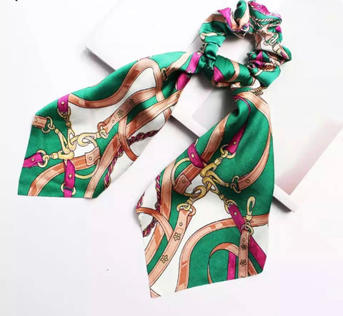 Bohemian Scrunchie Scarf Bow Hair Tie - Vintage Green