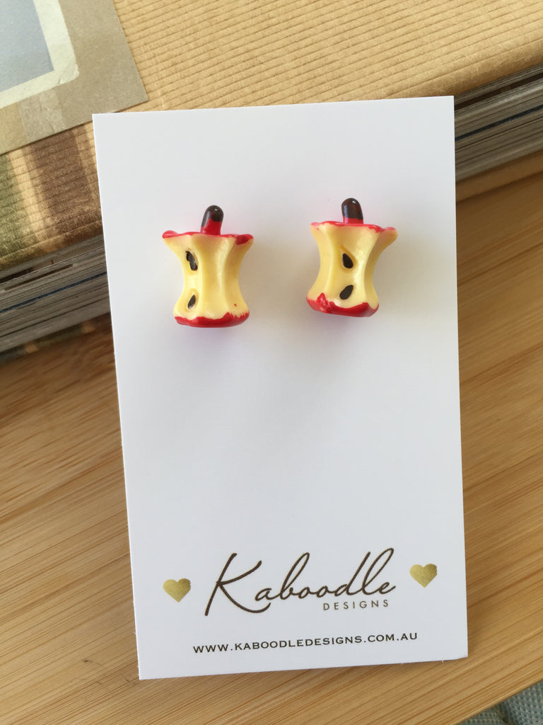 Miniature Food Bitten Red Apple Core Stud Earrings