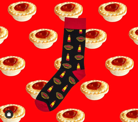 Novelty Fun Socks - Aussie Meat Pie and Sauce
