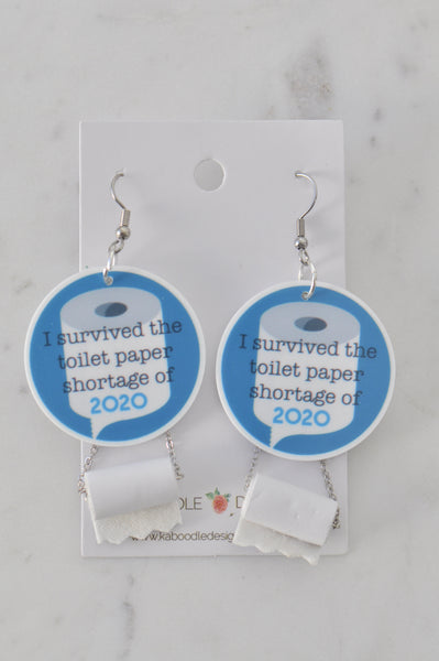 Acrylic Perspex Surviving 2020 Toilet Paper Crisis Novelty Fun Drop Dangle Earrings