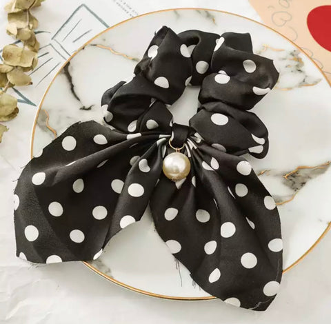 Bohemian Scrunchie Scarf Bow Hair Tie with Faux Pearl - Black and White Polkadot