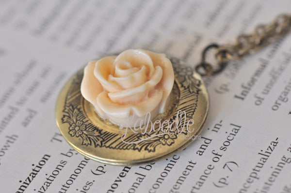 Ivory Bliss - Flower Locket Necklace