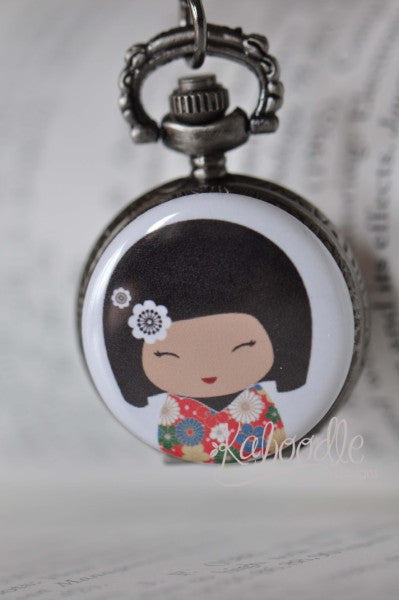 Kawaii Japanese Doll - Pocket Watch Necklace
