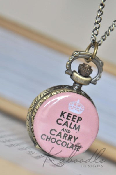Keep Calm and Carry Chocolate - Pocket Watch Necklace