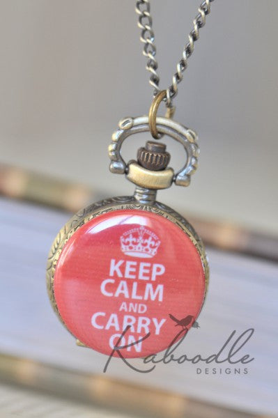 Keep Calm and Carry On in Red - Small Pocket Watch Necklace
