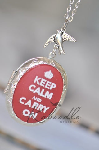 Keep Calm and Carry On Locket Necklace in Silver