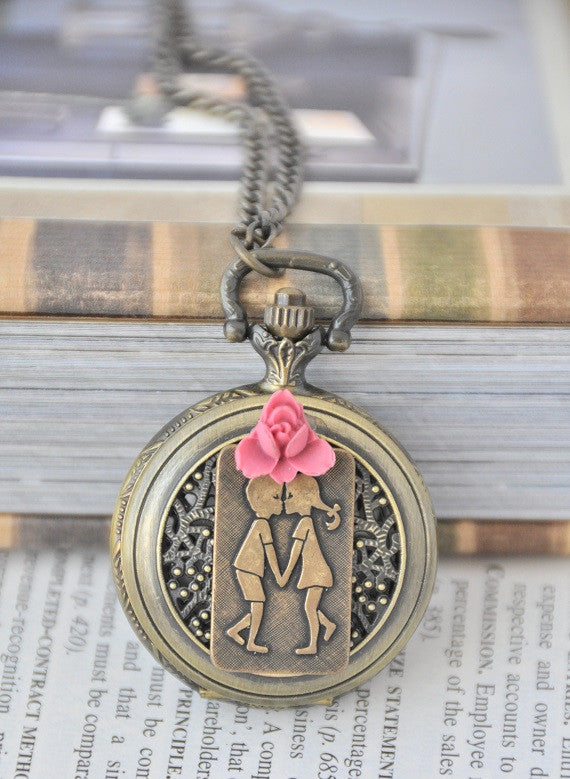 Kissing Couple - Pocket Watch Necklace