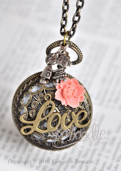 Kissing Cousins - Pocket Watch Necklace