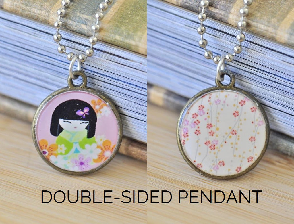 Handmade 25mm Double-Sided Glass Pendant Necklace - Japanese Kokeshi Doll and Sakura