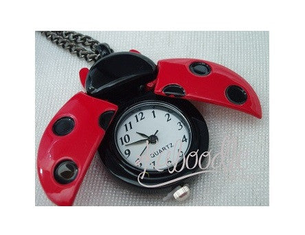 Lady Beetle Open Wings Pocket Watch Necklace