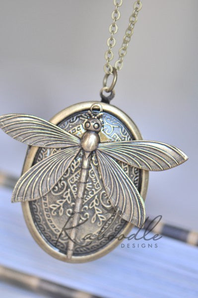 Large Dragonfly Locket Necklace in Bronze