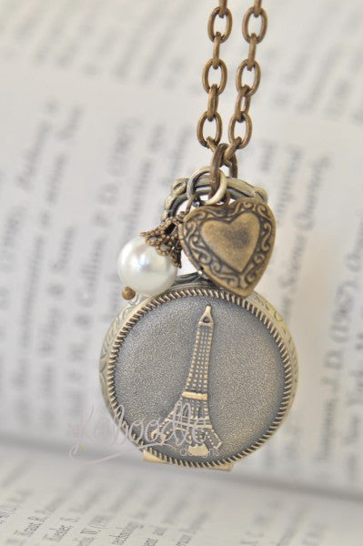 Left My Heart In Paris - Vintage Pocket Watch Necklace