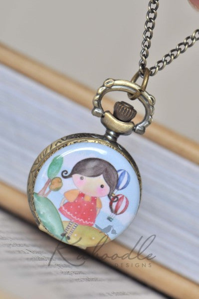Lilly's Balloon Ride - Pocket Watch Necklace