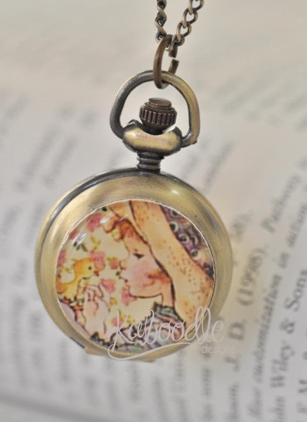 Little Sweet Moppet Little Girl - Handmade Pocket Watch Necklace