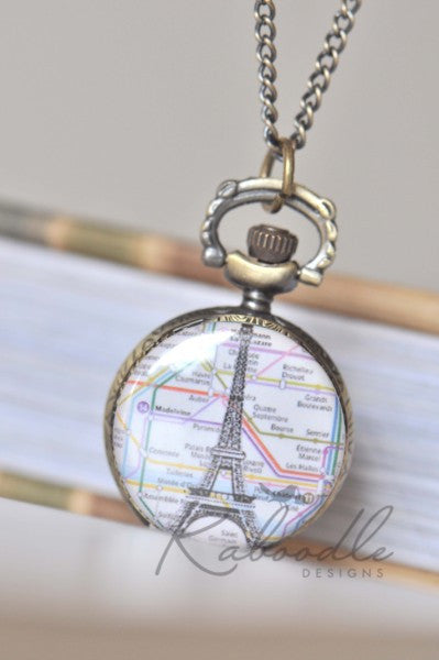 Lost in Paris - Pocket Watch Necklace