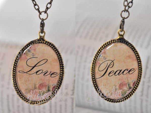 Love and Peace - Double Sided Necklace
