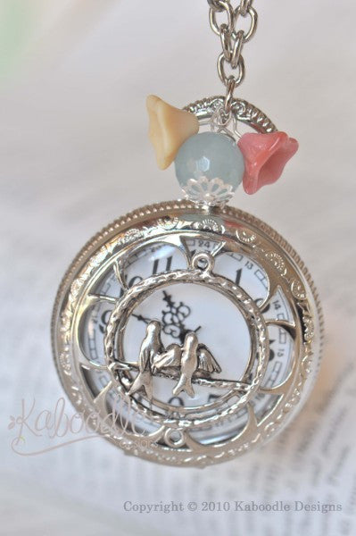 Love Birds with Blooms In Silver - Pocket Watch Necklace