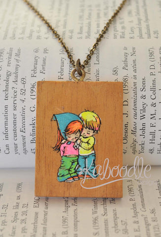 Wooden Moppet Necklace - Love is Caring - Rare Find