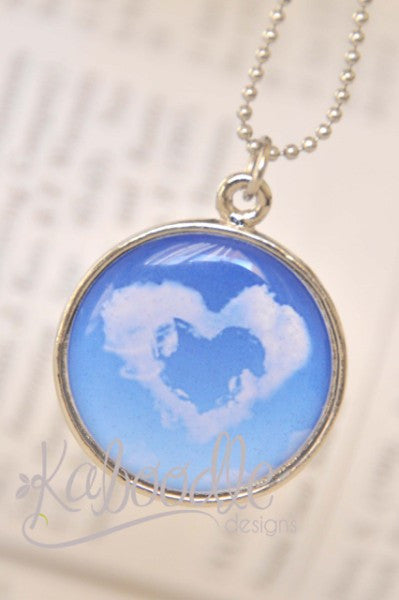 Handmade 25mm Resin Necklace - Handmade Art Pendant - Love is in the Air