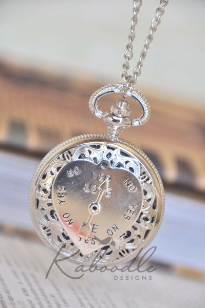 Love Me Love Me Not in silver - Pocket Watch Necklace