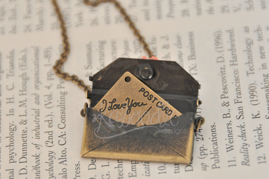 Love Note Postcard in an Envelope Kitsch Necklace