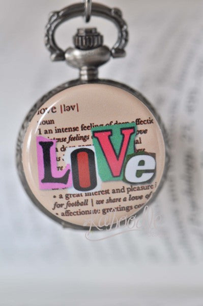 Love Script - Pocket Watch Necklace